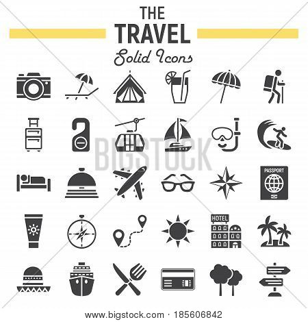 Travel solid icon set, tourism symbols collection, transportation vector sketches, logo illustrations, filled pictograms package isolated on white background, eps 10.