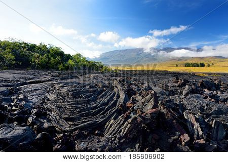 Rough Surface Of Frozen Lava After Mauna Loa Volcano Eruption On Big Island, Hawaii