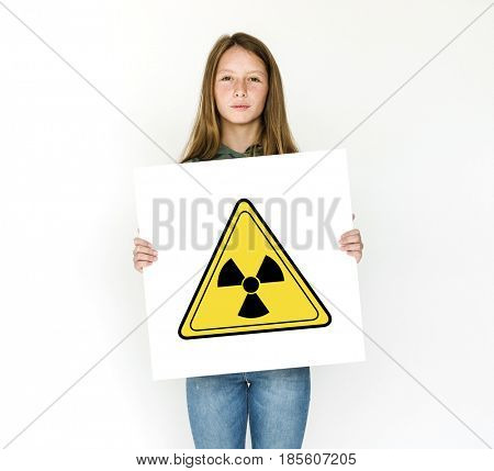 Radioactive risk hazard safety caution sign
