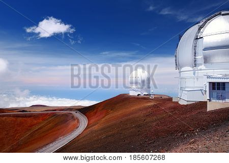 Mauna Kea Observatories On Top Of Mauna Kea Mountain Peak, Hawaii, Usa