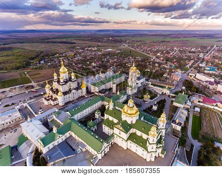 Aerial view of Pochaev Monastery, Orthodox Church, Pochayiv Lavra at the day, Ukraine