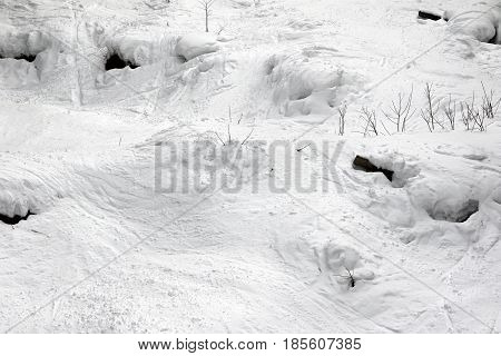 Off-piste Slope With Tracks From Ski And Snowboard