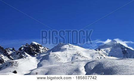 Panoramic View On Mount Tetnuldi And Off-piste Slope With Track From Ski And Snowboard
