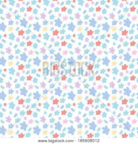 Vector floral seamless pattern. Illustration of little cute colored flowers. Blue pink violet and yellow red florets on the light background
