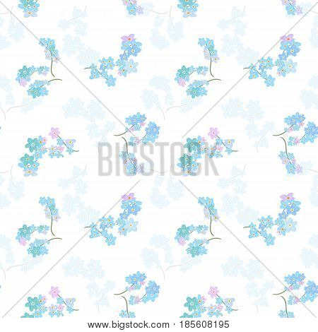 Vector floral seamless pattern. Illustration of little cute colored flowers. Blue pink and violet florets on the light background