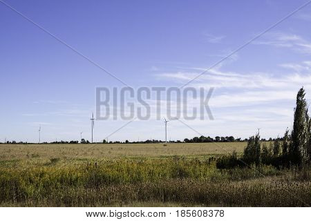 Wide landscape of multiple wind turbines in a farmer's field near Windsor, Ontario with the moon visible on a sunny late afternoon in September.