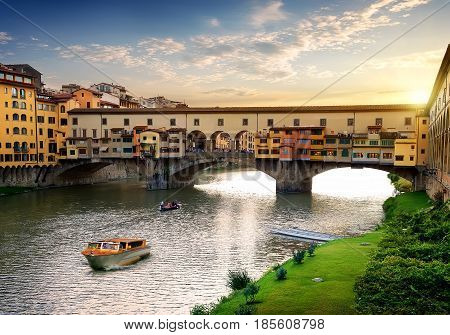 Ponte Vecchio in Florence at sunset, Italy