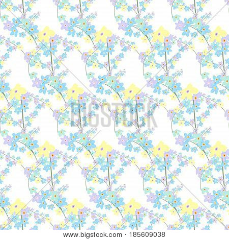 Vector floral seamless pattern. Illustration of little cute colored flowers. Blue violet and yellow florets on the light background