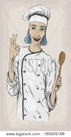 Woman caucasian young cook chef worker in chef's jacket and cap with happy smile portrait. Vector close-up vertical beautiful colorful and black linear illustration isolated beige background