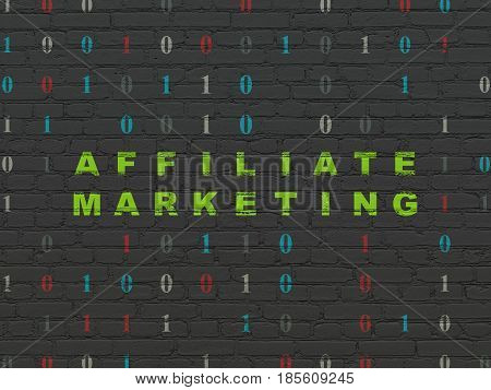 Business concept: Painted green text Affiliate Marketing on Black Brick wall background with Binary Code