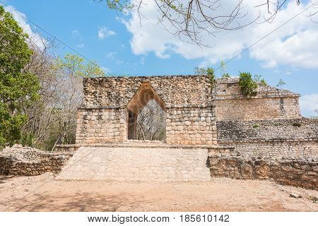 The entrance to Ek Balam, the Mayan Archaeological Site. Maya Ruins, Yucatan Peninsula, Mexico