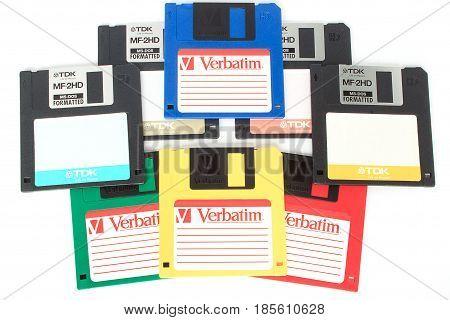 Russia Izhevsk - April 26 2017:Group floppy disks on the white background. Retro style.