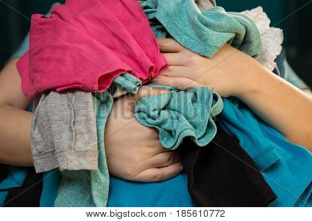 Mom Overloaded With Messy Laundry