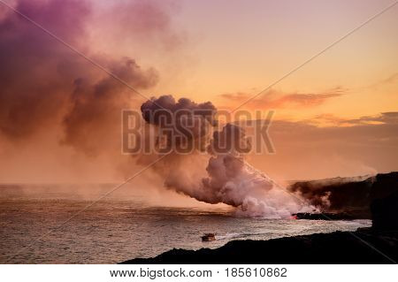 Lava Pouring Into The Ocean Creating A Huge Poisonous Plume Of Smoke At Hawaii's Kilauea Volcano, Bi