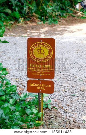 MANOA FALLS, HAWAII - FEBRUARY 20, 2016: Trailhead sign at Manoa Falls Trail in Oahu, Hawaii.
