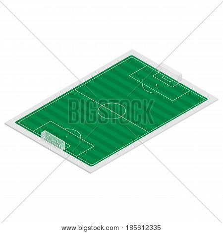 Field for play soccer with a markings and gates isolated on white background. Flat 3D isometric style vector illustration.