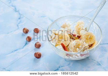 cottage cheese in bowl on white background