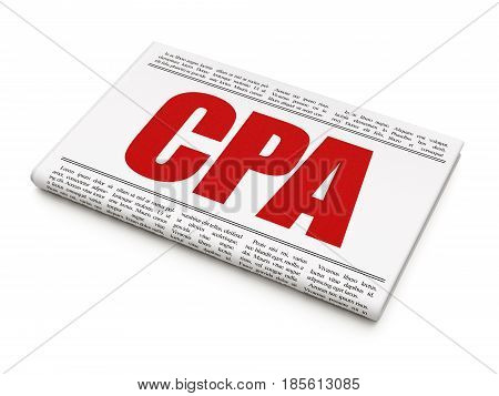 Business concept: newspaper headline CPA on White background, 3D rendering