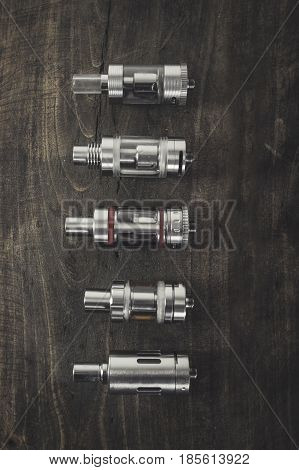 Electronic cigarette Atomizers from above, health concept