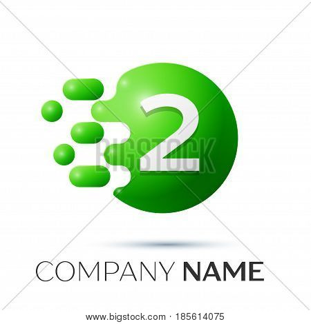 Number two splash logo. Green dots and bubbles number design on grey background. Vector Illustration