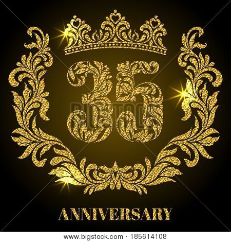 Anniversary of 35 years. Digits, frame and crown made in swirls and floral elements with gold glitter and sparkle