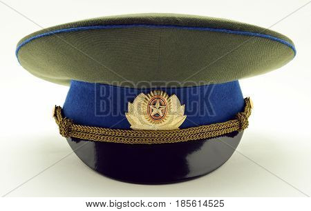 Russian army military officer cap, isolated white