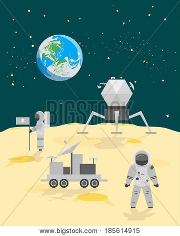 Cartoon Astronauts on Moon Surface or Landscape with Flag and Space Ship Flat Style Design. Vector illustration