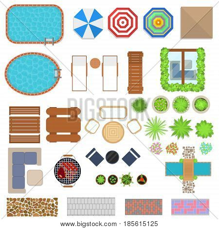 Cartoon Landscape Design Elements Set Top View Flat Style for Home, Hotel or Resort. Vector illustration