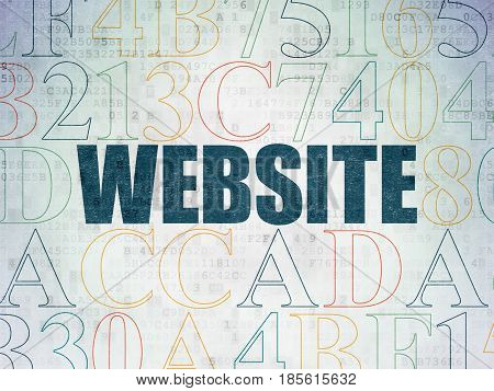Web development concept: Painted blue text Website on Digital Data Paper background with Hexadecimal Code