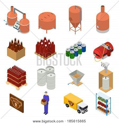 Equipment and Beer Production Set Isometric View Style Elements for Brewing Factory. Vector illustration