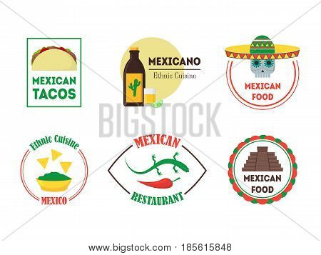 Mexican Food Cuisine Badges or Labels Set for a Bar, Restaurant or Pub. Flat Design Style. . Vector illustration