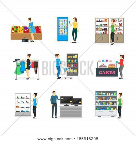 Cartoon Shopping Peoples on Store Candy, Clothing, Food, Clothes, Electronic, Shoe and Pharmacy. Vector illustration