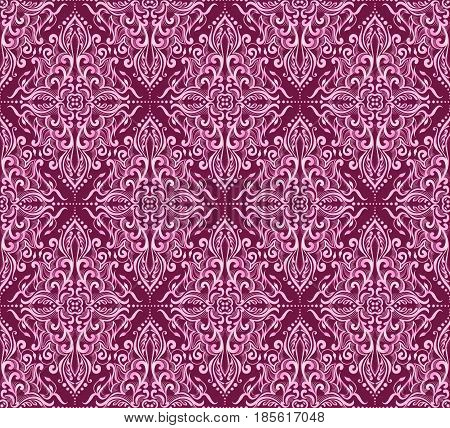 Seamless pink damask pattern on a dark background.