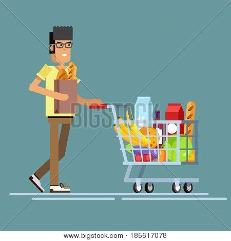 Flat illustration for shop, supermarket. Vector character man with supermarket basket full of meal. Healthy eating and eco food in supermarket. Daily purchases.