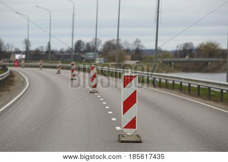 Traffic Signs Set On The Road