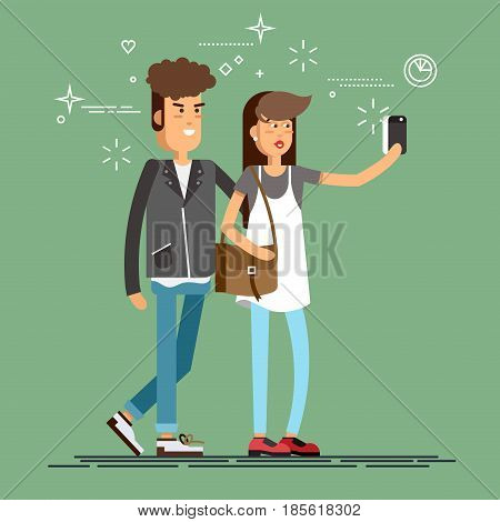 Cool flat character design on young hipster couple standing posing together full length taking photos with mobile smart phone device. Couple taking self portraits with mobile phone camera