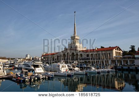Sochi Russia - March 9 2017: Marine station Port of Sochi Krasnodar Krai Russia .Seaport in Sochi. Russia