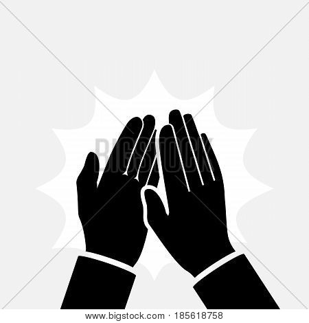 Clapping hands icon silhouette. Applause clap pictogram hands. Vector illustration flat design. Isolated on background. Gesture bravo.