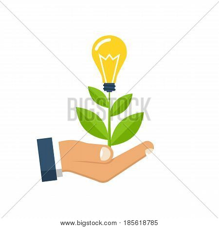 Concept growing idea. Man holding in palm hands of a growing sprout with a light bulb. Vector illustration flat design. Isolated on white background. Business metaphor.