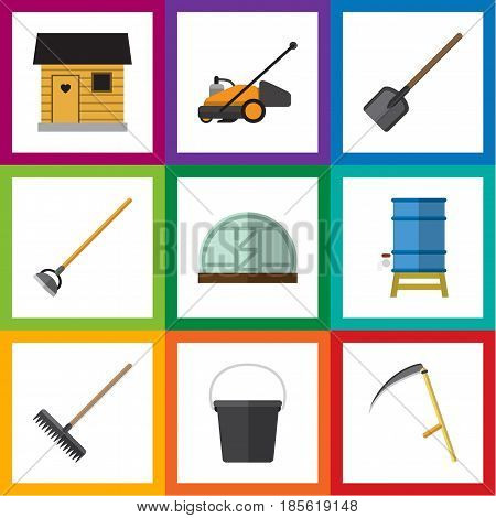 Flat Dacha Set Of Hothouse, Pail, Shovel And Other Vector Objects. Also Includes Tool, Bucket, Rake Elements.