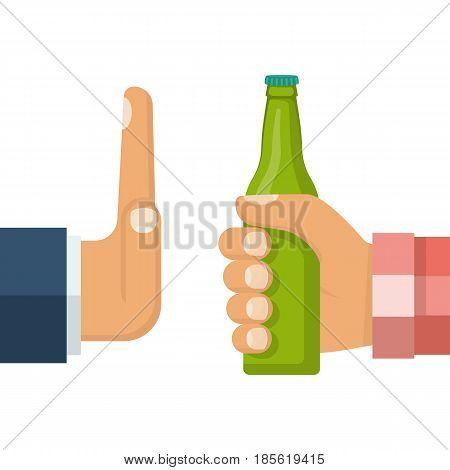 No alcohol. Man offers to drink holding a bottle of beer in hand. Stop alcohol. Hand gesture rejection. Vector illustration flat design. Isolated on background.