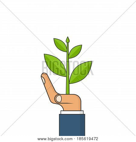 Planting sapling. Ecology concept. Man farmer, gardener holding a green sprout in hand. Care and environmental development. Vector illustration flat design. Isolated on white background.