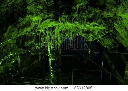 Green lighing in st. Michael's cave Gibraltar