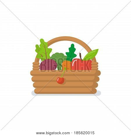Basket of vegetables icon isolated on white background. Vector illustration flat design. In wicker basket wooden healthy ripe fruits and vegetables: carrot, apple, beet, cherry, cabbage. Good harvest.