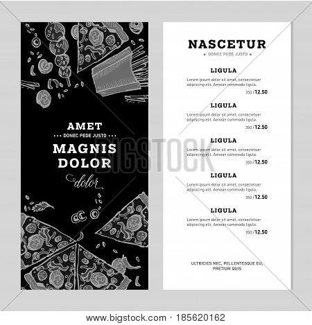 Fast food menu. Hand drawn linear graphic. Snack collection. Junk food cafe. Vector illustration verticale flyers in doodle style.
