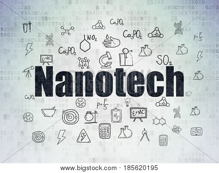 Science concept: Painted black text Nanotech on Digital Data Paper background with  Hand Drawn Science Icons