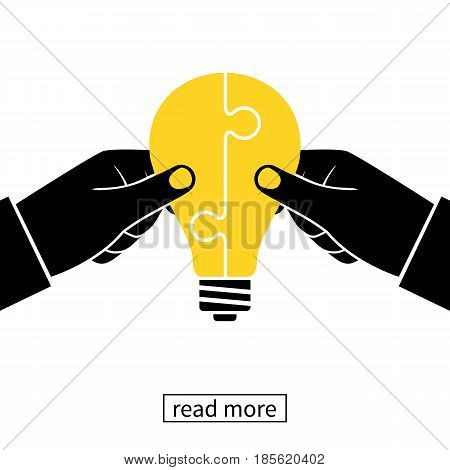 Collaboration concept icon. Completing business idea. Cooperation, teamwork. Successful solution puzzle. Symbol partnership. Vector, flat design. Businessmen hold puzzle in hand connected in lightbulb