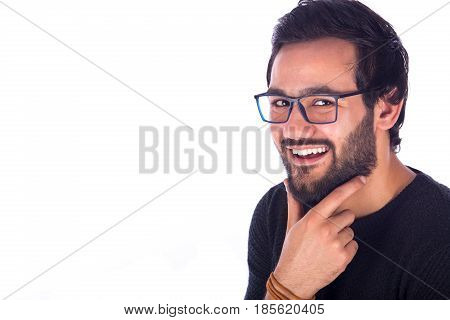 cropped shot of a happy handsome beard young man smiling and holding his chin by his hand guy wearing gray t-shirt and glasses isolated on white background