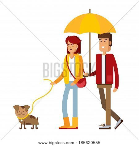 Vector flat illustration of a loving couple under an umbrella in the rain. Young man and woman character. Autumn walk the dog