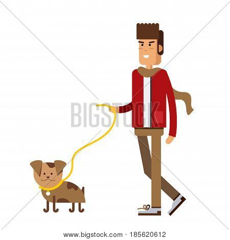 Illustration of a young handsome man in casual clothes or more eccentric hipster fashion with backpack. Man character walk with his puppy isolated in white background.